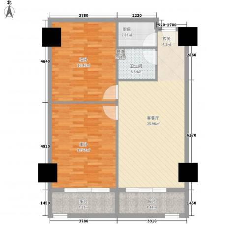 凤航大厦2室1厅1卫1厨74.00㎡户型图