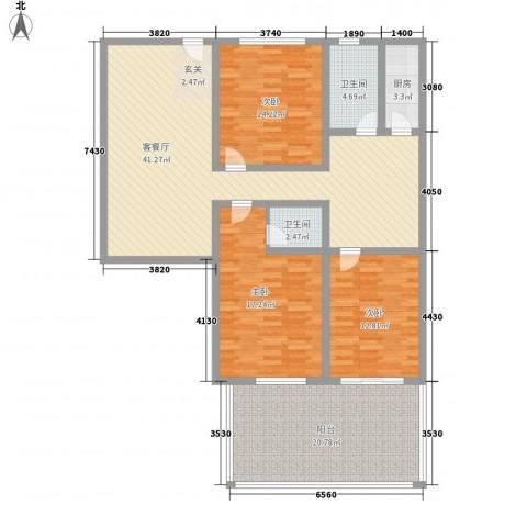 凤航大厦3室1厅2卫1厨172.00㎡户型图