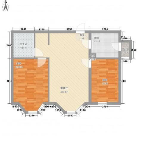 燕归宁馨园2室1厅1卫1厨85.00㎡户型图