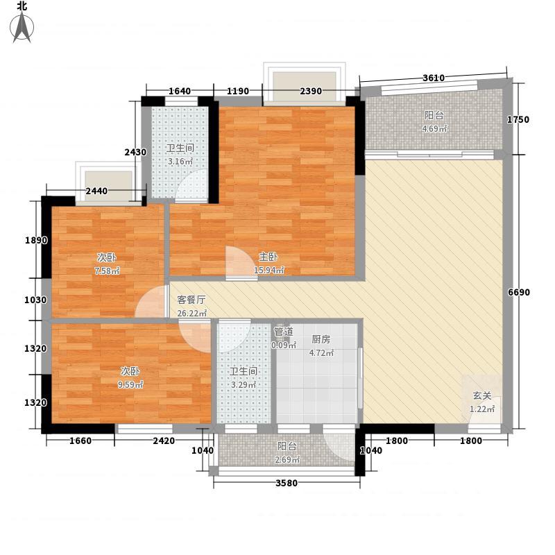 鸿海豪庭111.00㎡2座4-12层01户型