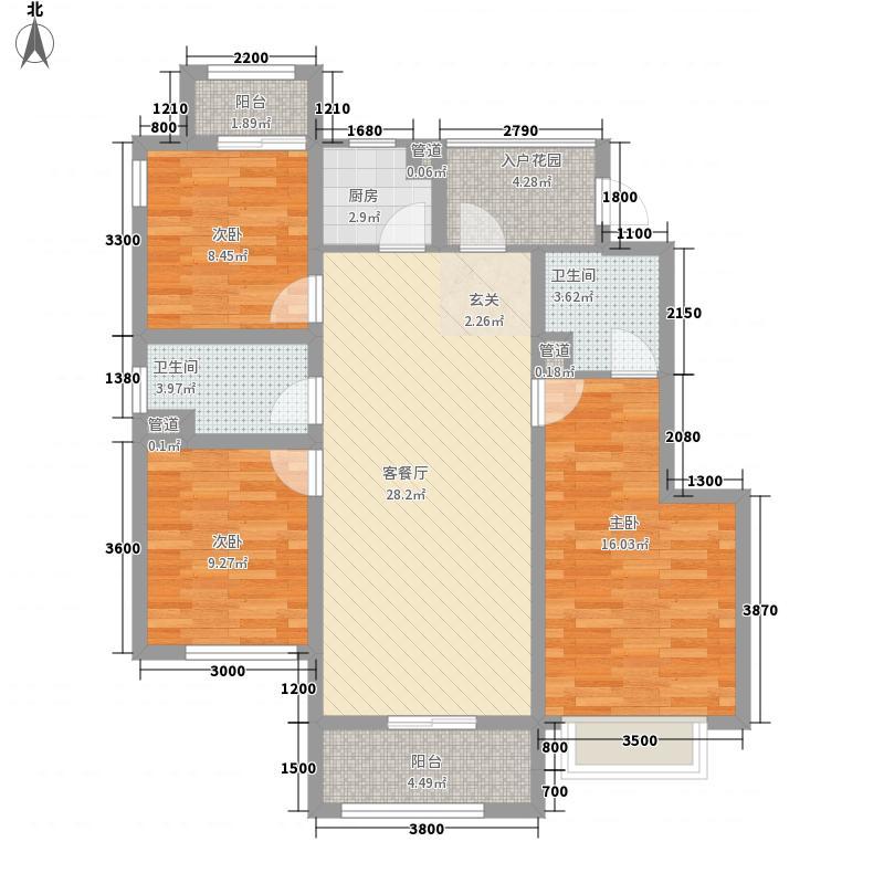 建工佳苑三居室5户型3室2厅1卫1厨