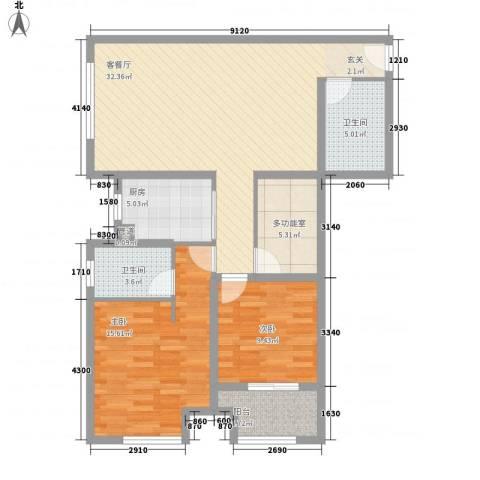 东城水岸2室1厅2卫1厨115.00㎡户型图