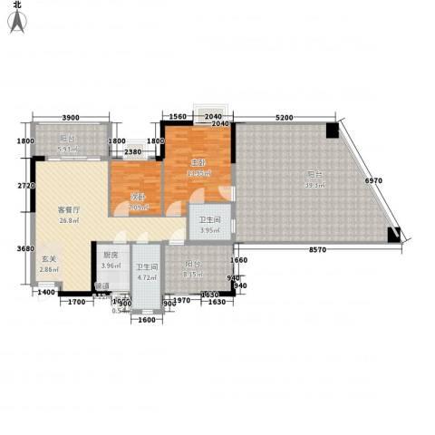 嘉景华庭2室1厅2卫1厨113.95㎡户型图