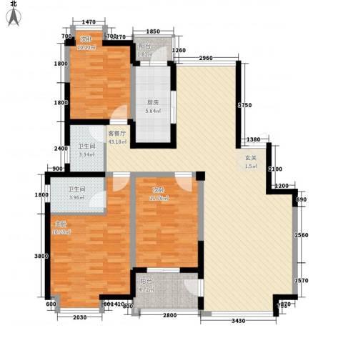 东城水岸3室1厅2卫1厨144.00㎡户型图