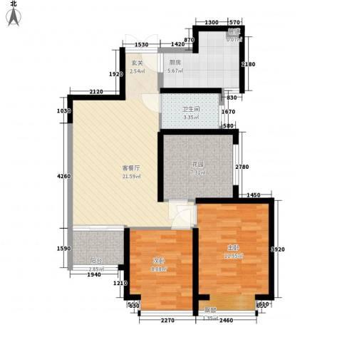 �灞1号2室1厅1卫1厨88.00㎡户型图