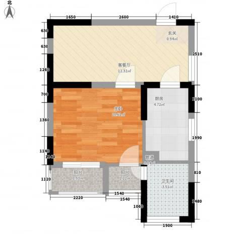 武夷水岸家园1室1厅1卫1厨45.00㎡户型图