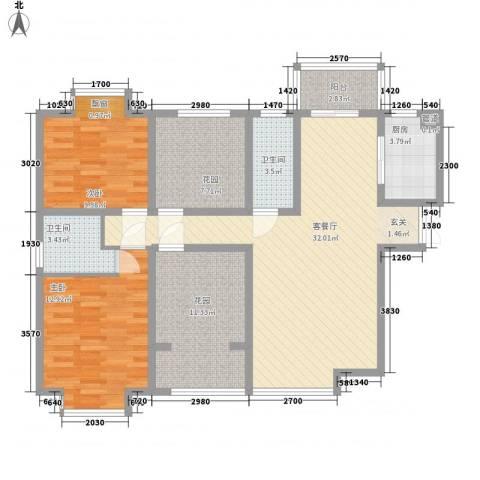 �灞1号2室1厅2卫1厨128.00㎡户型图