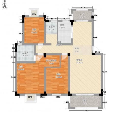 水榭山3室1厅2卫1厨129.00㎡户型图