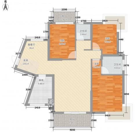 未来海岸系滨湖花园3室1厅2卫1厨125.00㎡户型图