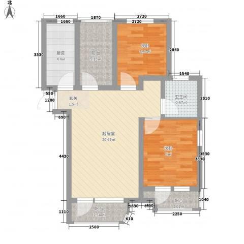 海上郡2室0厅1卫1厨82.00㎡户型图