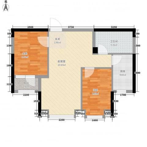 海上郡2室0厅1卫1厨66.00㎡户型图