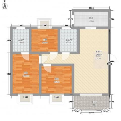 奥运花园3室1厅2卫1厨104.00㎡户型图