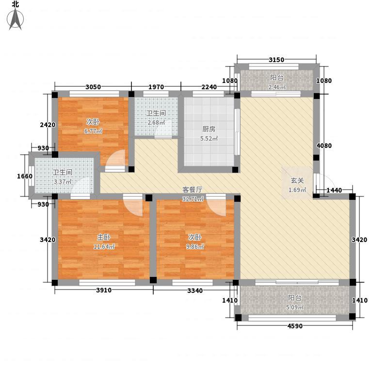 九川国际城118.00㎡一期A户型3室2厅2卫1厨