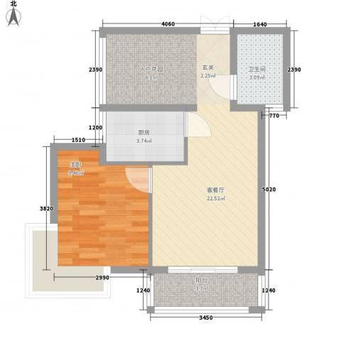 弗拉明戈屿海1室1厅1卫1厨42.11㎡户型图