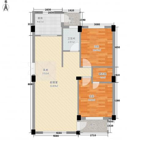 海上郡2室0厅1卫1厨95.00㎡户型图