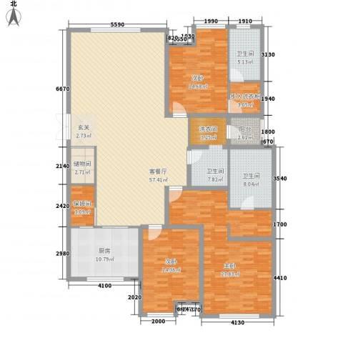 万科城峰汇3室1厅3卫1厨220.00㎡户型图