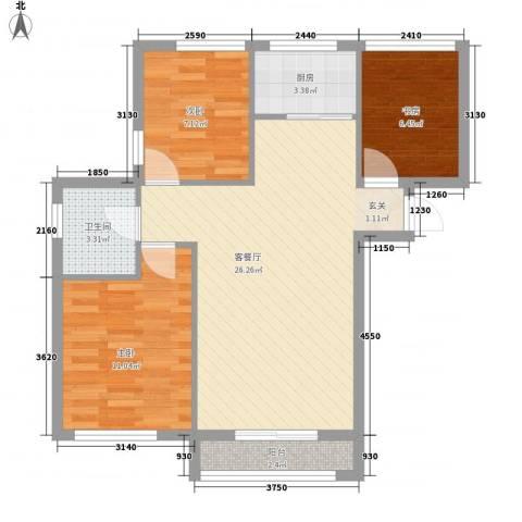 亿锋广场3室1厅1卫1厨86.00㎡户型图