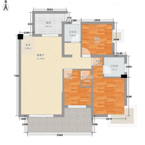 未来海岸系滨湖花园3室1厅2卫1厨112.00㎡户型图