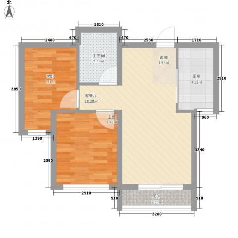 亿锋广场2室1厅1卫1厨64.00㎡户型图