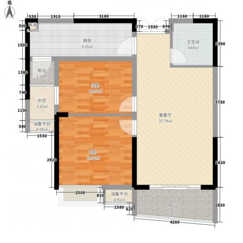 南昌铜锣湾广场2室1厅1卫1厨78.00㎡户型图