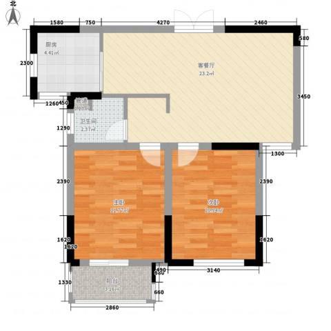 滨河御景2室1厅1卫1厨80.00㎡户型图