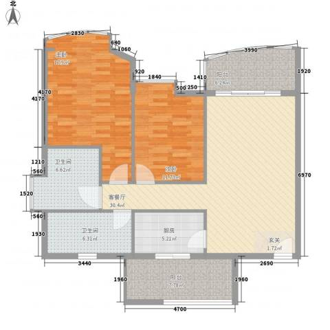 三屯花园2室1厅2卫1厨128.00㎡户型图