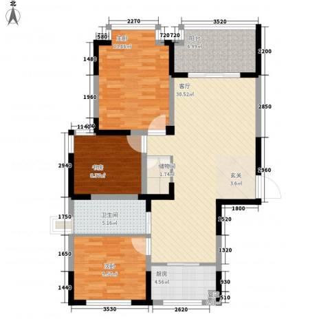 金色地带3室1厅1卫1厨116.00㎡户型图