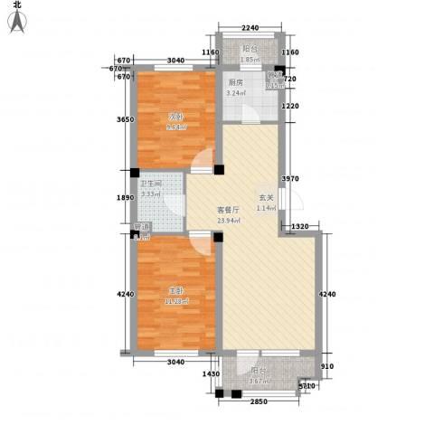 金地华府二期2室1厅1卫1厨83.00㎡户型图