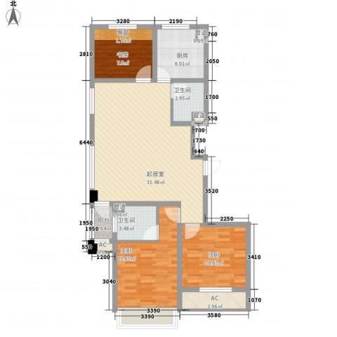 城建南郡3室0厅2卫1厨108.00㎡户型图