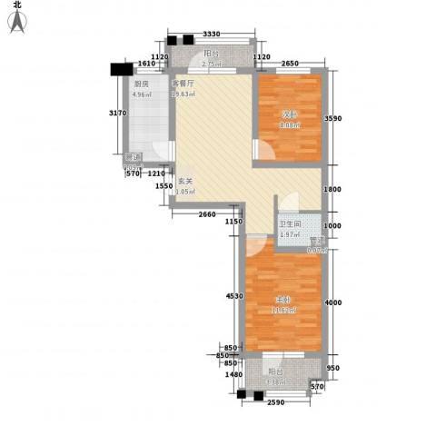 金地华府二期2室1厅1卫1厨78.00㎡户型图