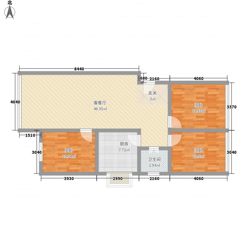 银盘鑫苑90.04㎡银盘鑫苑户型图3室1厅1卫1厨户型10室