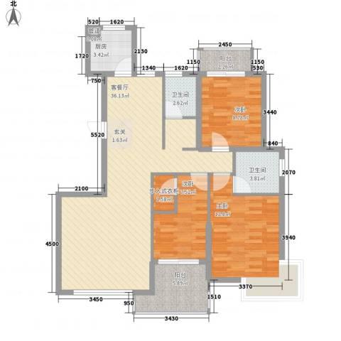 未来海岸系滨湖花园3室1厅2卫1厨121.00㎡户型图