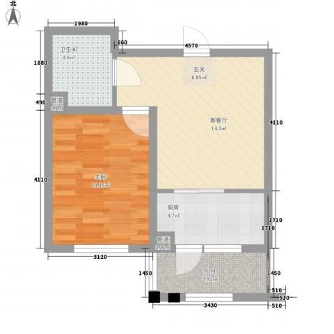 金地华府二期1室1厅1卫1厨56.00㎡户型图