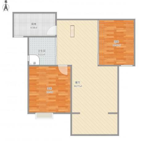 牡丹花园2室1厅1卫1厨95.00㎡户型图