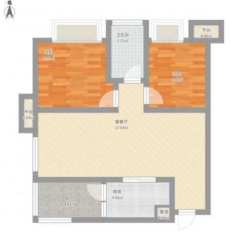 首创鸿恩国际生活区三期2室1厅1卫1厨88.00㎡户型图