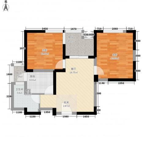 金色地带2室1厅1卫1厨80.00㎡户型图