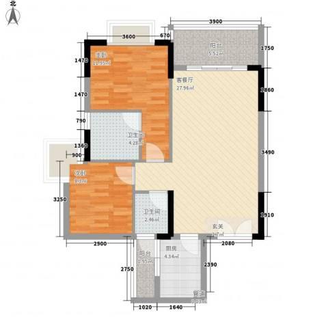 三屯花园2室1厅2卫1厨82.00㎡户型图