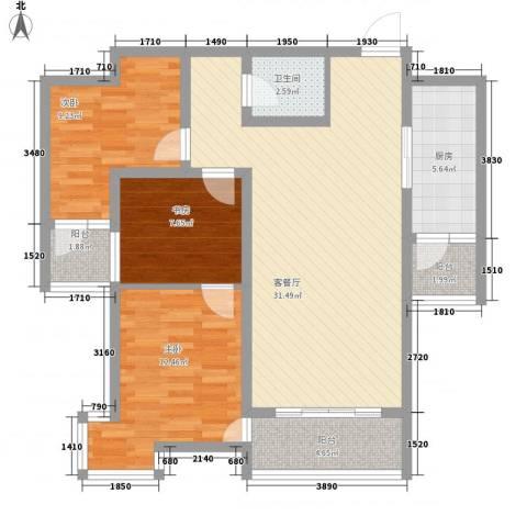 帝景公馆3室1厅1卫1厨119.00㎡户型图