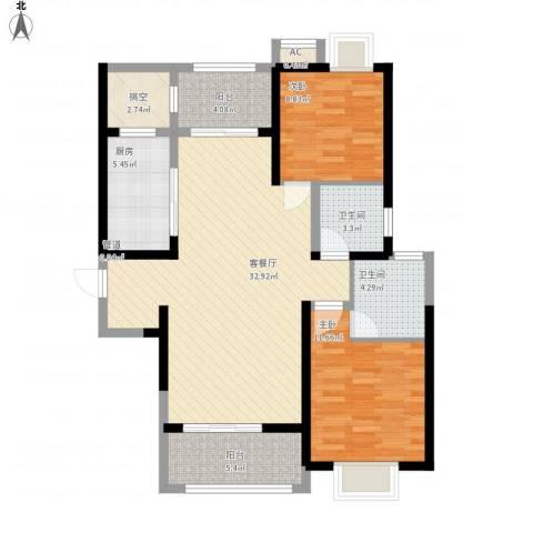 弘建一品2室1厅2卫1厨115.00㎡户型图