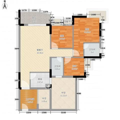 怡景苑3室1厅2卫1厨98.00㎡户型图