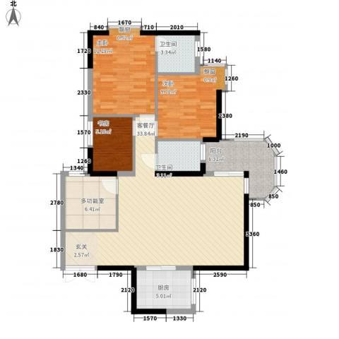 侨苑山庄3室1厅2卫1厨120.00㎡户型图