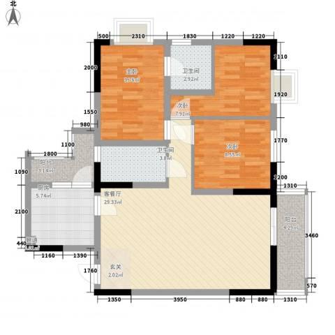 睿力上城3室1厅2卫1厨113.00㎡户型图