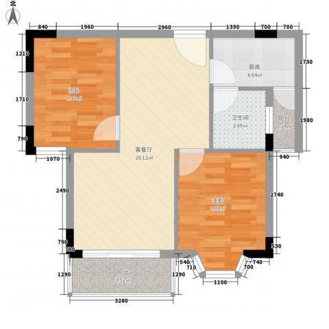 滨江小区2室1厅1卫1厨72.00㎡户型图