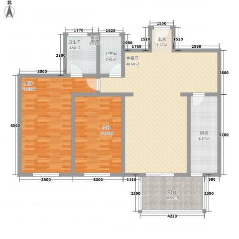阳光假日2室1厅2卫1厨103.61㎡户型图