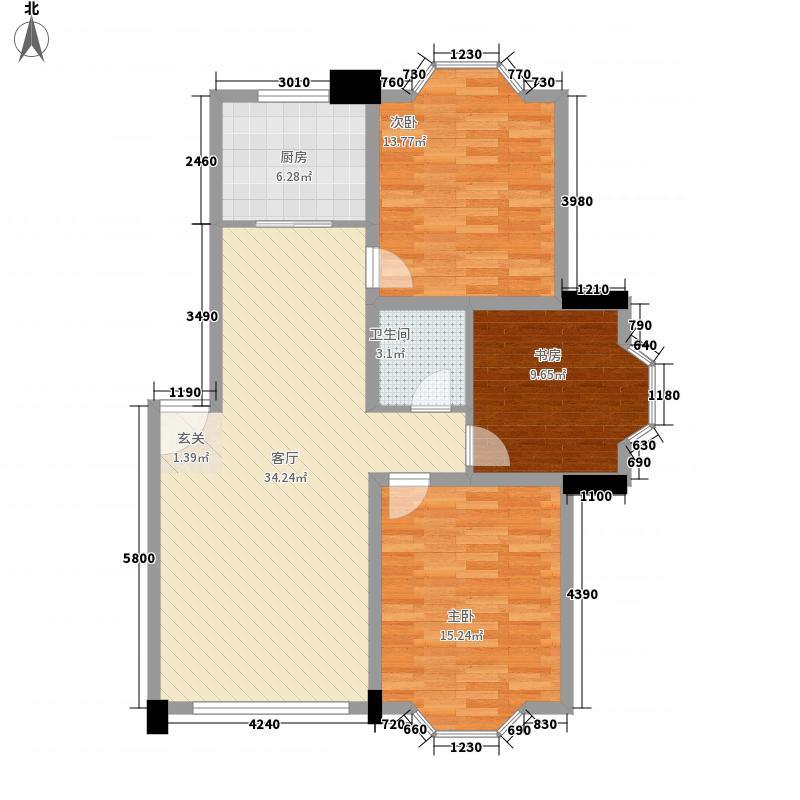 日月华庭二区115.00㎡D户型3室2厅1卫1厨