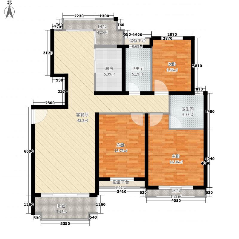 橄榄郡130.00㎡3室户型3室2厅1卫1厨