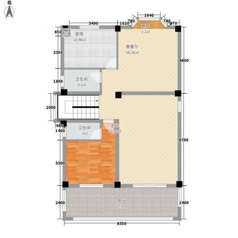 古龙居住公园1室1厅2卫1厨106.12㎡户型图