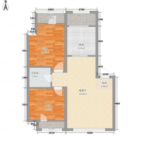英伦华府2室1厅1卫1厨101.00㎡户型图