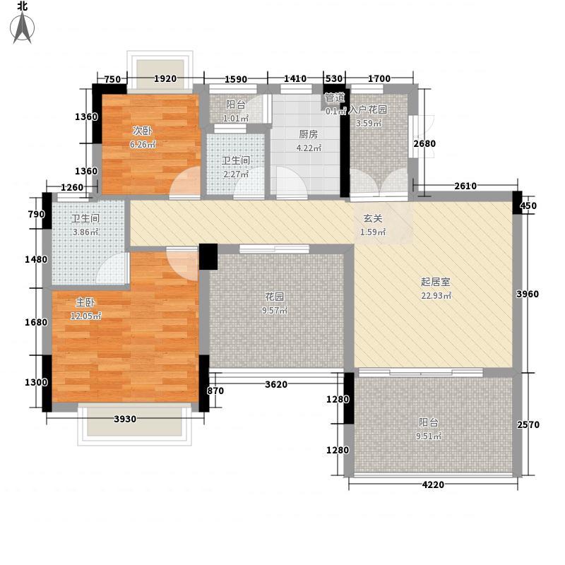 慧港国际02单位偶数层户型2室2厅2卫1厨