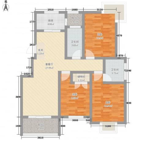 久地雅苑3室1厅2卫1厨122.00㎡户型图